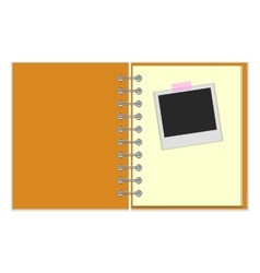 Open notebook with photo vector