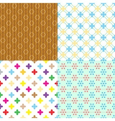 Four retro abstract seamless simple patterns eps10 vector