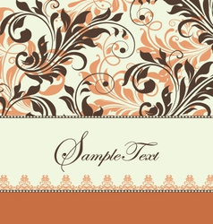 Vintage brown swirly invitation card vector