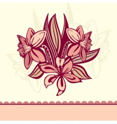 Retro card with flowers vector