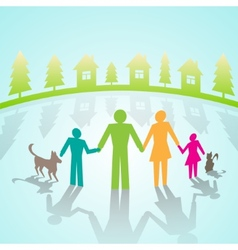 Multi-color community pictograms in village vector