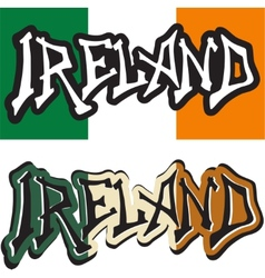 Ireland word graffiti different style vector