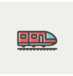 Modern high speed train thin line icon vector