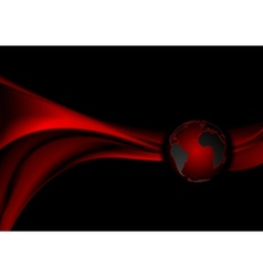 Dark red technology background with waves vector