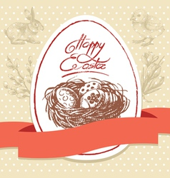 Vintage easter background hand drawn vector