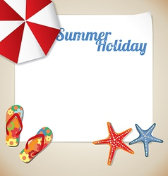 Summertime traveling template with beach summer ac vector