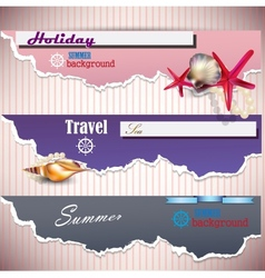 Set of holiday banners with shells and place for vector