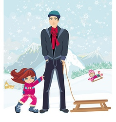 Girl wants to ride on a sled vector