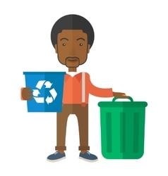Black man sorting a trash vector