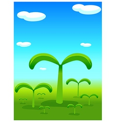Plants sprouting landscape vector