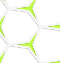 White hexagonal net and green stars seamless vector