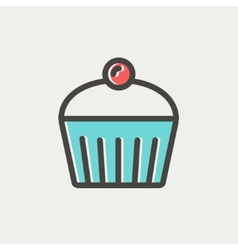 Cupcake with raspberry thin line icon vector