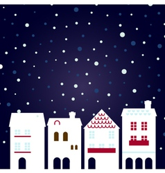 Christmas night city on snowing background vector