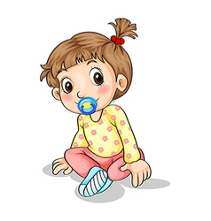 A toddler with a pacifier vector