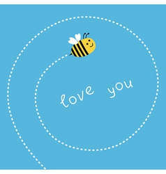Flying bee dash spiral in the sky card vector