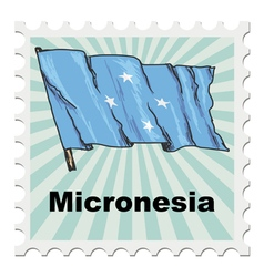 Post stamp of national day of micronesia vector