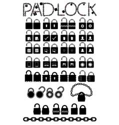 Set web icons pudlock chain links vector