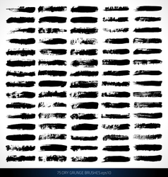 75 dry grunge brushes vector