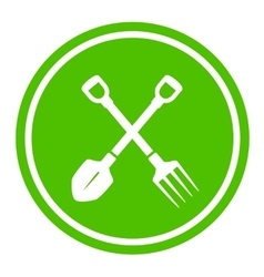 Garden tools round green icon vector