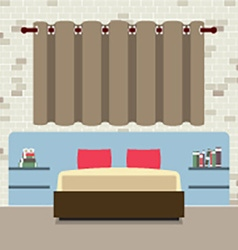 Flat design double bed with headboard vector