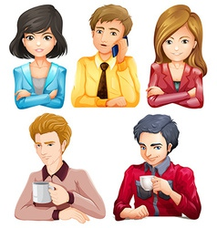 Male and female office workers vector