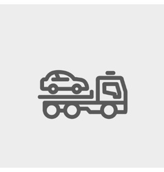 Car towing truck thin line icon vector