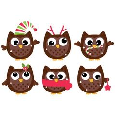 Cute cartoon christmas owls set isolated on white vector