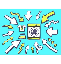 Arrows point to icon of washing machine o vector
