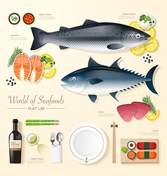 Infographic food business seafood flat lay idea vector