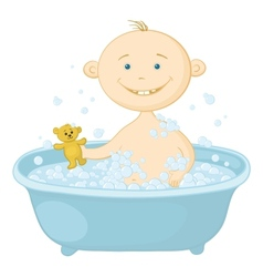 Baby wash in the bath vector