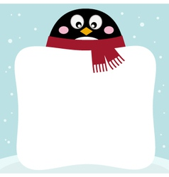 Winter retro penguin with blank banner vector