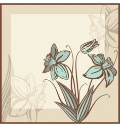 Retro card illustration with flowers vector
