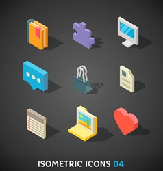 Flat isometric icons set 4 vector