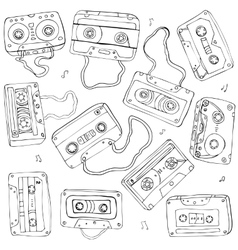 Set of retro cassette tapes vector