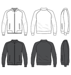 Blank bomber jacket with zipper vector
