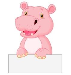 Cute hippo cartoon holding blank sign vector