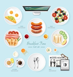 Infographic food business breakfast flat lay idea vector