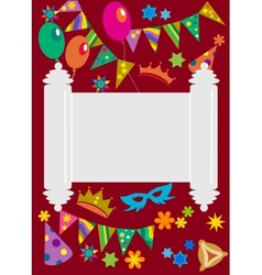 Purim background with torah in the midle vector