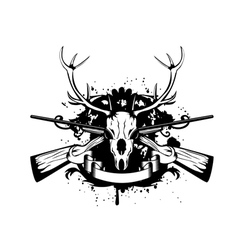 Crossed guns and skull of deer vector