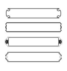 Set of simple black banners border frame vector