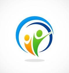 Happy people partner icon logo vector