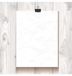 White wrinkled texture paper hanging on one binder vector