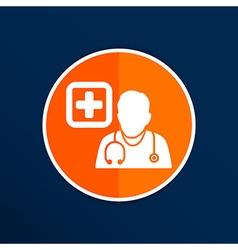 Doctor with stethoscope around his neck icon vector