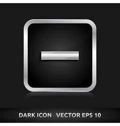 Minus delete close icon silver metal vector