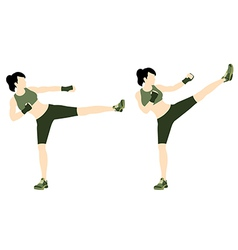 Young woman body combat and fitness vector