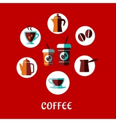 Coffee drink flat concept vector