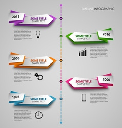 Time line info graphic with colored folded vector