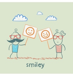 Man and girl holding posters with fun emoticons vector