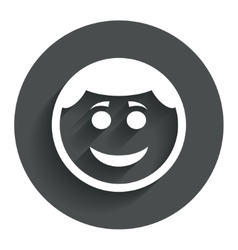Smile face icon smiley with hairstyle symbol vector