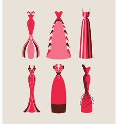 Retro and modern woman evening dresses vector